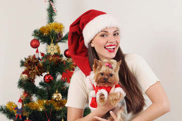 happy smiling woman in Santa hat with toy terrier near Christmas