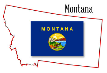Montana State Map and Flag
