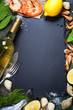 Food background with Seafood and Wine - 73578193