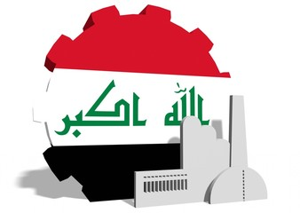 iraq flag on gear and factory icon