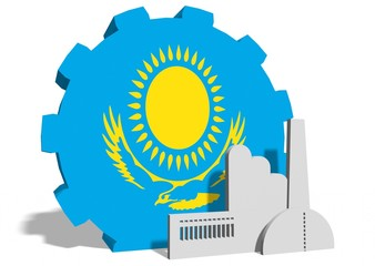 kazakhstan flag on gear and factory icon
