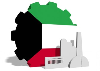 kuwait flag on gear and factory icon