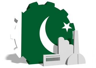 pakistan flag on gear and factory icon