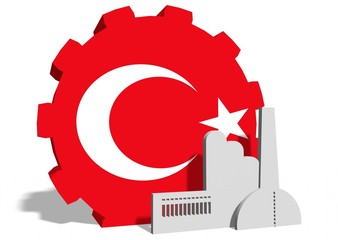 turkey flag on gear and factory icon