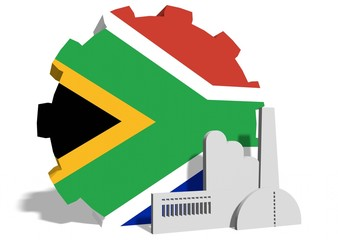 south africa flag on gear and factory icon