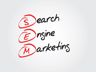 Hand drawn Search Engine Marketing (SEM) vector concept, chart