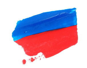 photo red, blue grunge brush strokes oil paint isolated on white