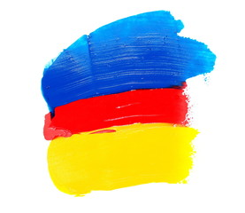 photo red, yellow, blue grunge brush strokes oil paint isolated