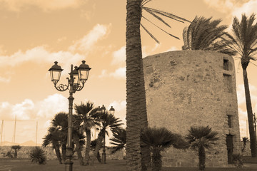 sighting tower in sepia tone