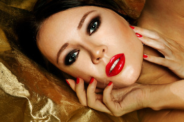 young beautiful woman. red lipstick.