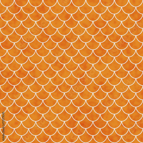 canvas print picture Orange and White Shell Tiles Pattern Repeat Background