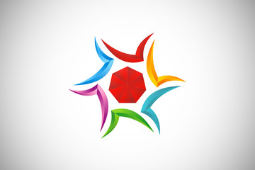 3D star abstract colorful dimensional logo