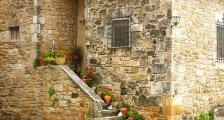 detalle escaleras con macetas