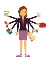 Time organization. Business woman
