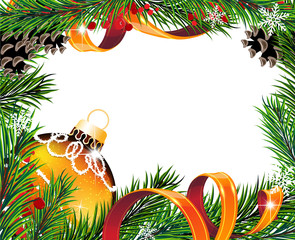 Christmas wreath with orange ball