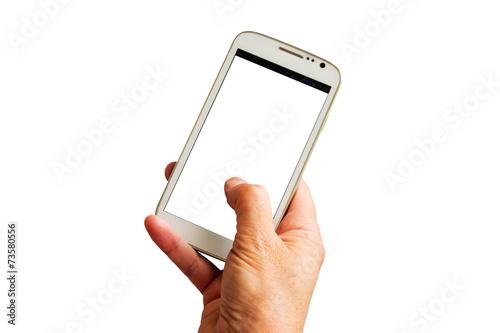 Leinwanddruck Bild Hand mit weißem Smartphone - Hand with white smartphone