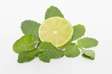 lime and mint isolated on white background