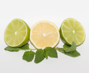 lime,lemon and mint isolated