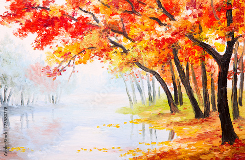Fototapety, obrazy : Oil painting landscape - autumn forest near the lake,