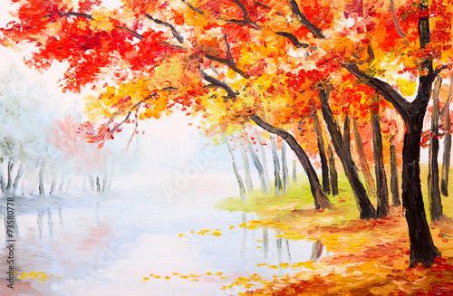 Zdjęcia na płótnie, fototapety na wymiar, obrazy na ścianę : Oil painting landscape - autumn forest near the lake,