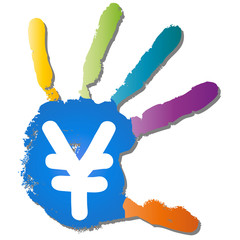 Conceptual children painted hand print and symbol isolated