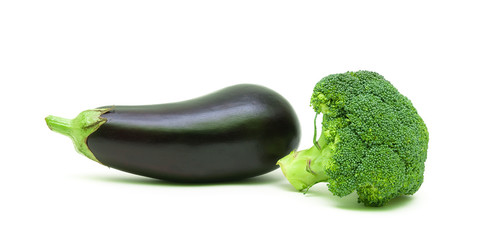 eggplant and broccoli isolated on white background close-up