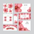 watercolor floral cards set