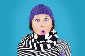Funny face winter woman