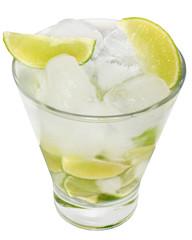 Caipirinha cocktail with ice cubes in a highball glass
