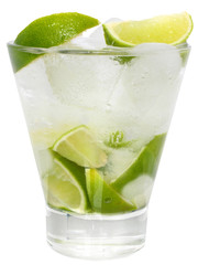 Caipirinha cocktail with ice cubes in a highball glass