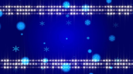 blue background and frame snowflake, loop
