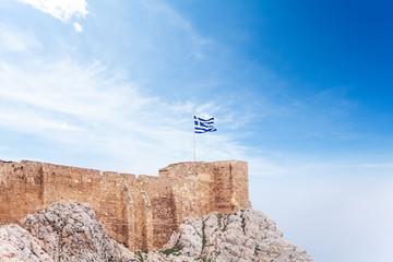 Greek flag on Acropolis in Athens, Greece