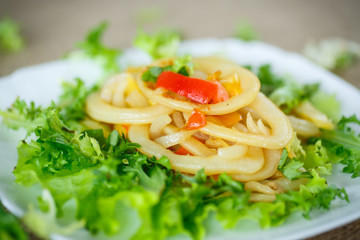 warm salad with fried calamari