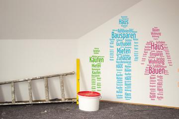 Illustration Familien Hauskauf Renovierung Bausparen