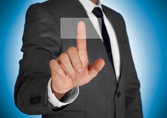 Businessman pushing virtual button