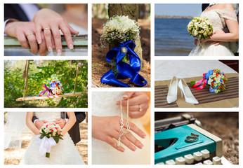 A collage of wedding photos