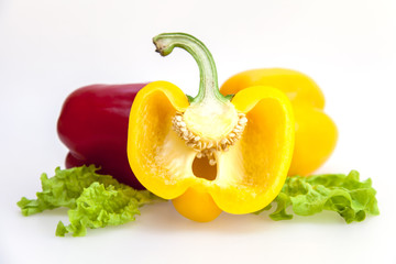 Large pepper of red and yellow color