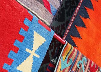 Oriental carpets in the market.
