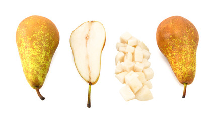 Conference pears - whole, halved and diced