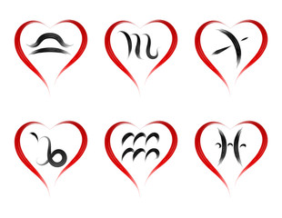 set  stylish zodiac signs in the shape  heart