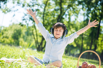 Boy enjoying music