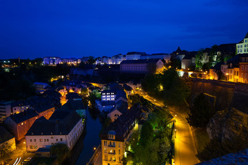 Night view of Luxembourg on Alzette river