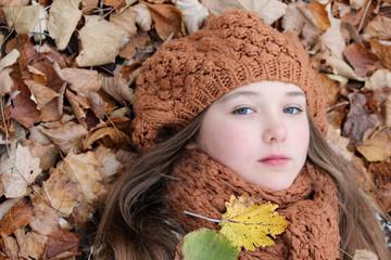 portrait child leaves sweet