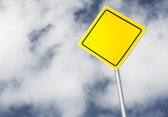 Safety road sign over cloudy sky
