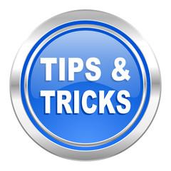 tips tricks icon, blue button