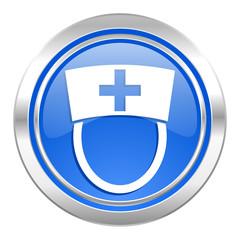 nurse icon, blue button, hospital sign