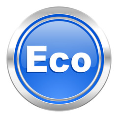 eco icon, blue button, ecological sign