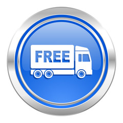 free delivery icon, blue button, transport sign