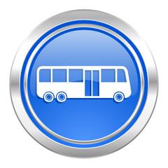 bus icon, blue button, public transport sign