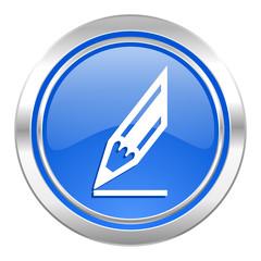 pencil icon, blue button, draw sign
